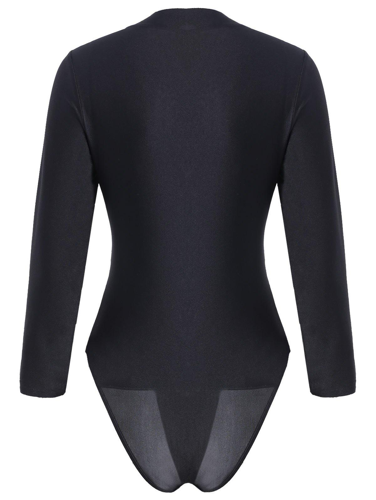 Embroidered Long Sleeve Plus Size Sport Swimsuit - BLACK 2XL