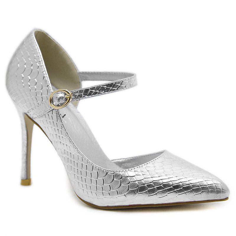 Snake Embossed Buckle Strap Pumps - SILVER 40