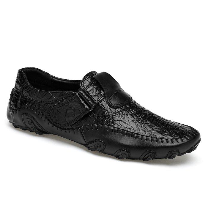 Crocodie Embossed Stitched Casual Shoes - BLACK 40