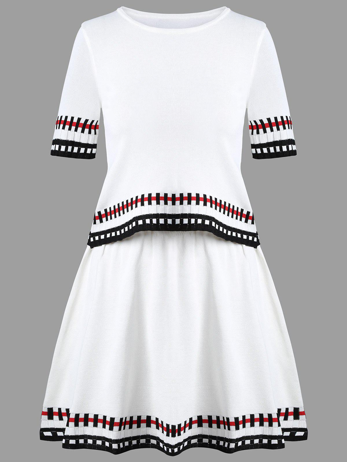 Striped Graphic Knit Two Piece Dress - WHITE ONE SIZE