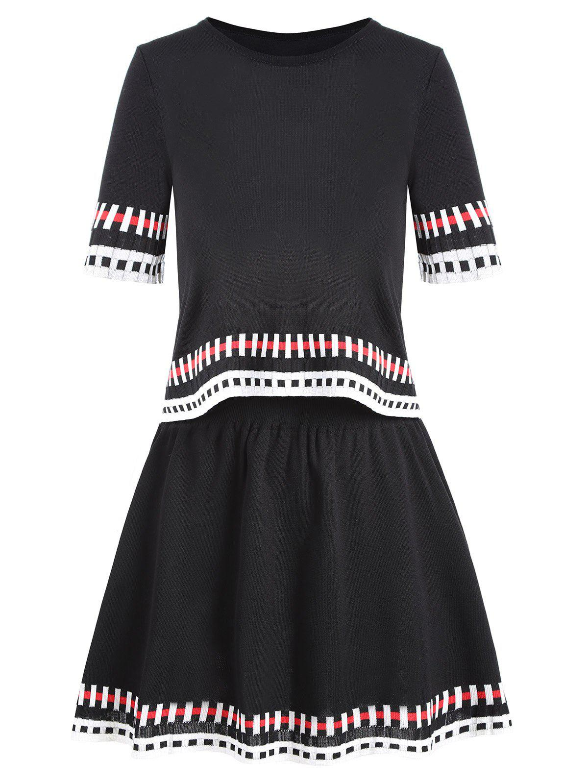Striped Graphic Knit Two Piece Dress - BLACK ONE SIZE