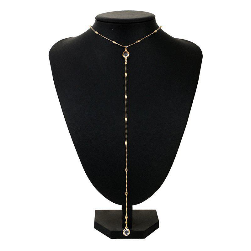 Alloy Faux Crystal Long Round Necklace - GOLDEN