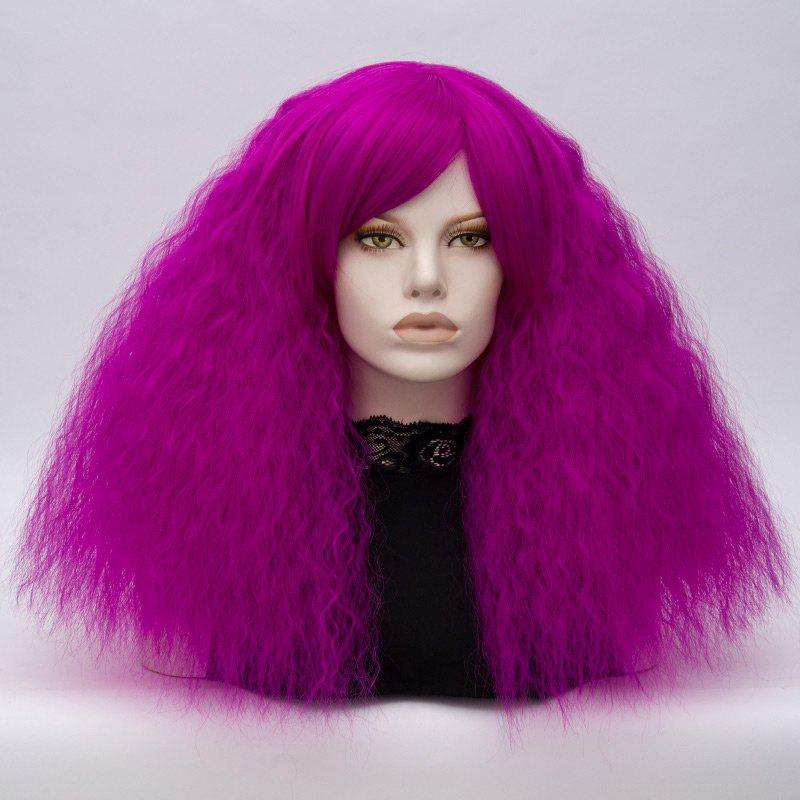 Long Inclined Bang Shaggy Curly Wave Lolita Cosplay Wig - BRIGHT PURPLE