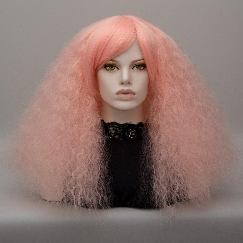 Longue inclinée Bang Shaggy perruque de cosplay Lolita Wave - ROSE PÂLE