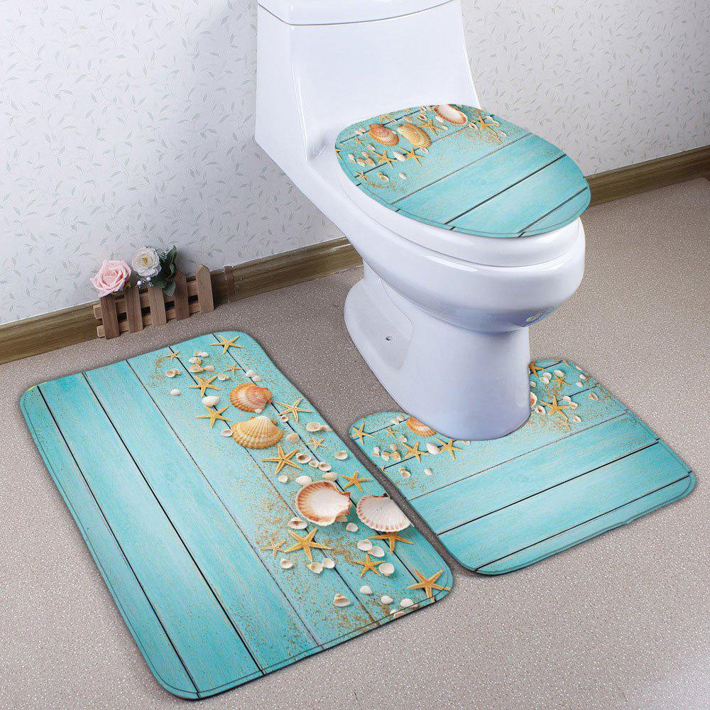 Starfish Shell Plank Flannel 3Pcs/Set Bath Toilet Mats - SKY BLUE