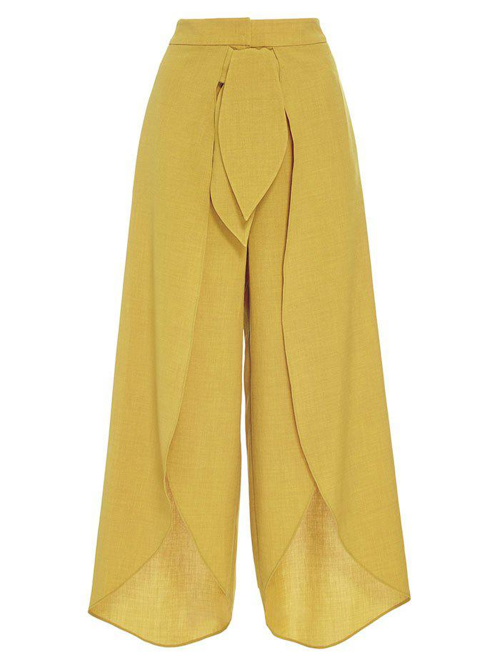 High Split Palazzo Pants with Tie Front - YELLOW M