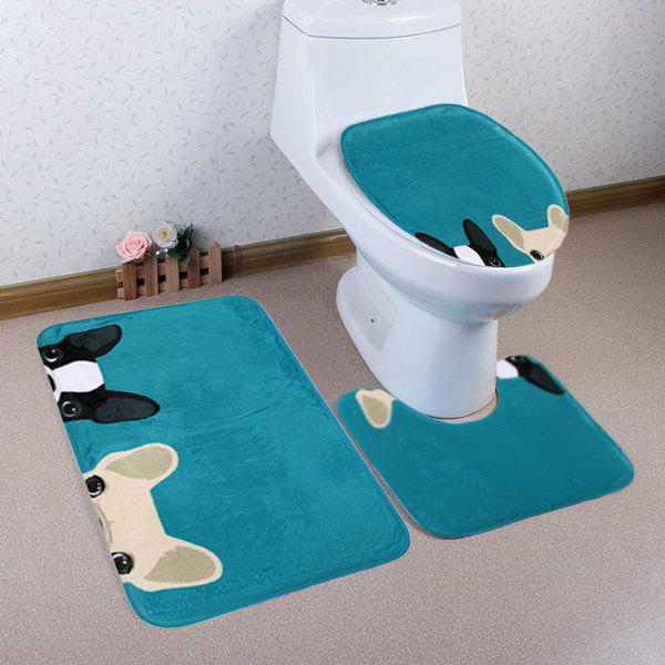 Cartoon Dog Pattern 3 Pcs Bathroom Toilet Mat - LAKE BLUE