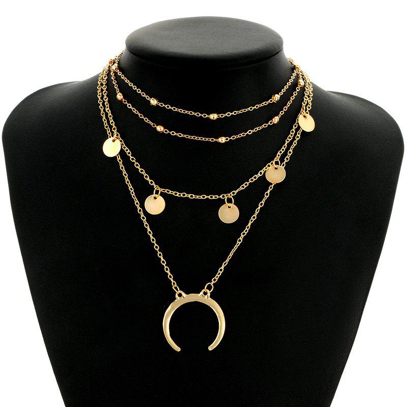Tribal Circle Sequins Pendant Layered Necklace - GOLDEN