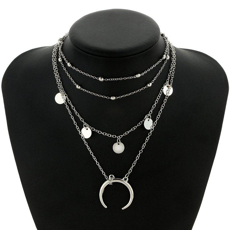 Tribal Circle Sequins Pendant Layered Necklace - SILVER
