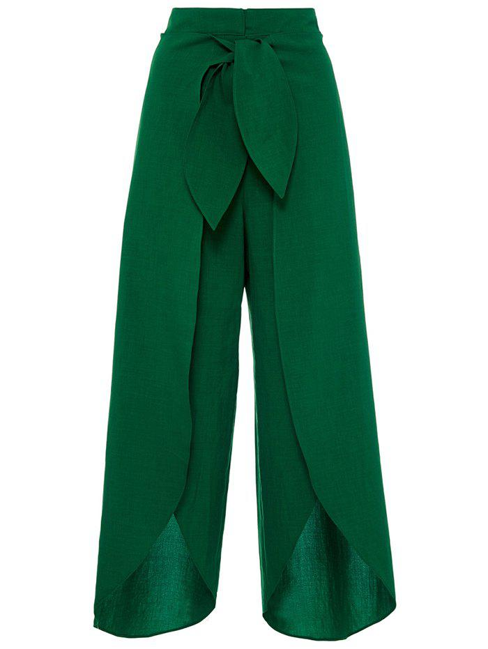 High Split Palazzo Pants with Tie Front - DEEP GREEN M