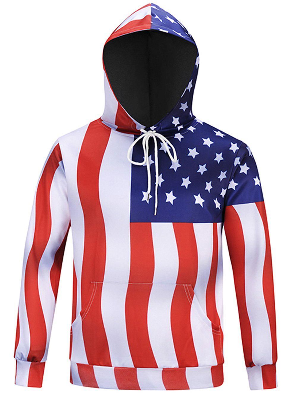 Chevron Stripe American Flag Long Sleeve Hoodie - COLORMIX 3XL