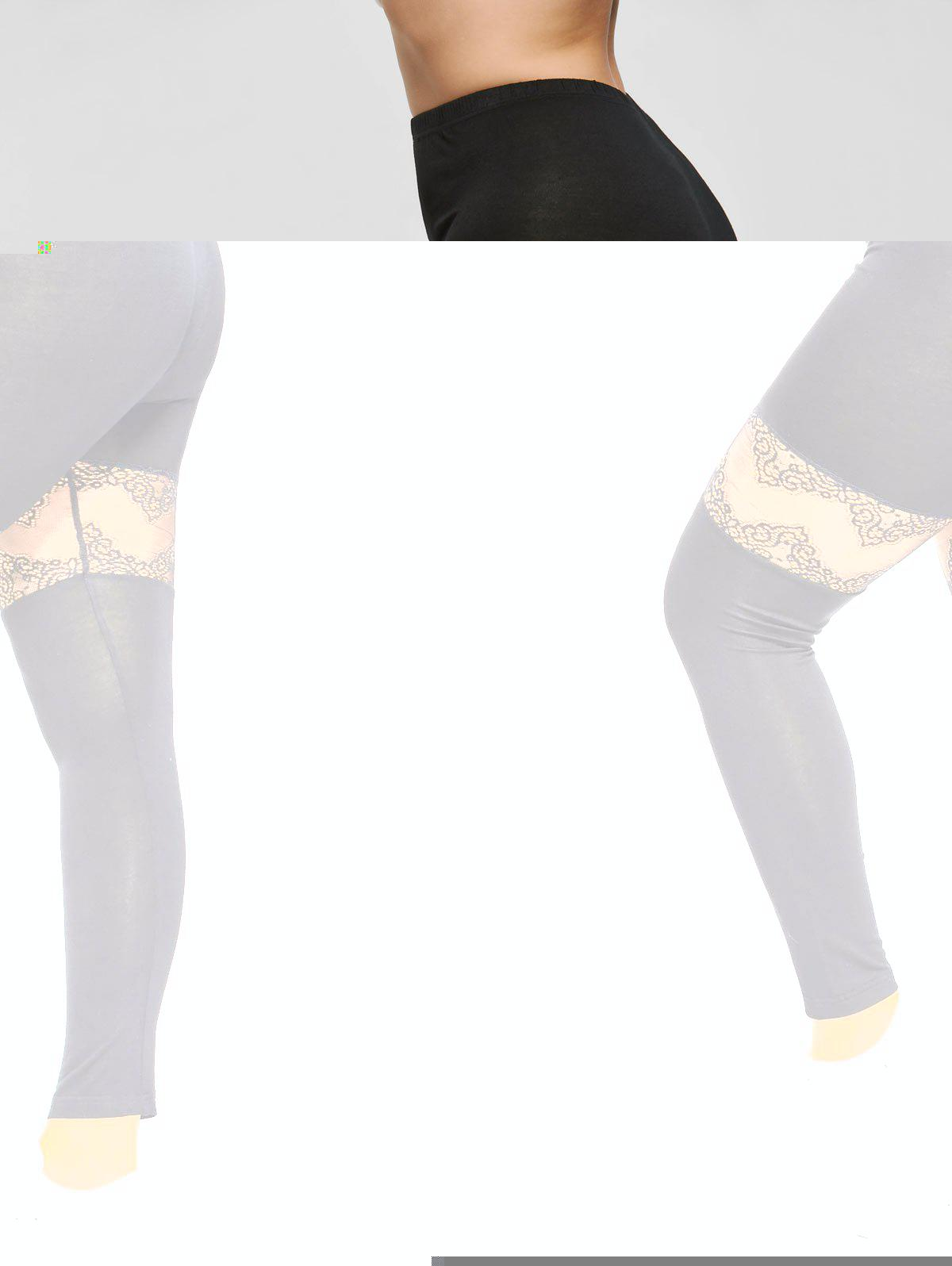 Plus Size Lace Insert Sport Leggings - BLACK 5XL