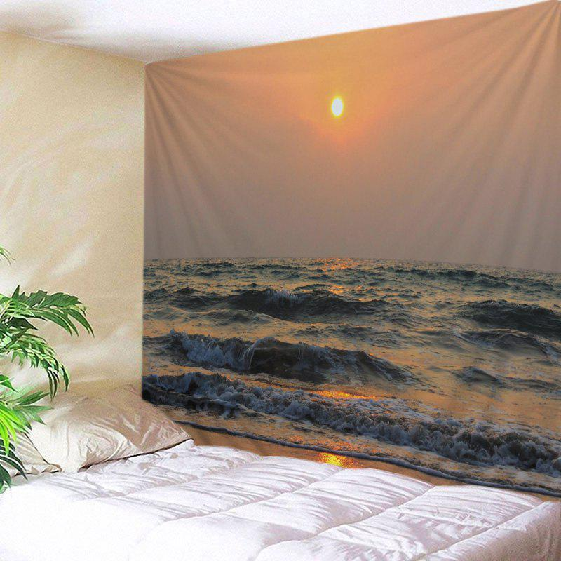 Beach Sunset Wave Print Tapestry Wall Hanging Art