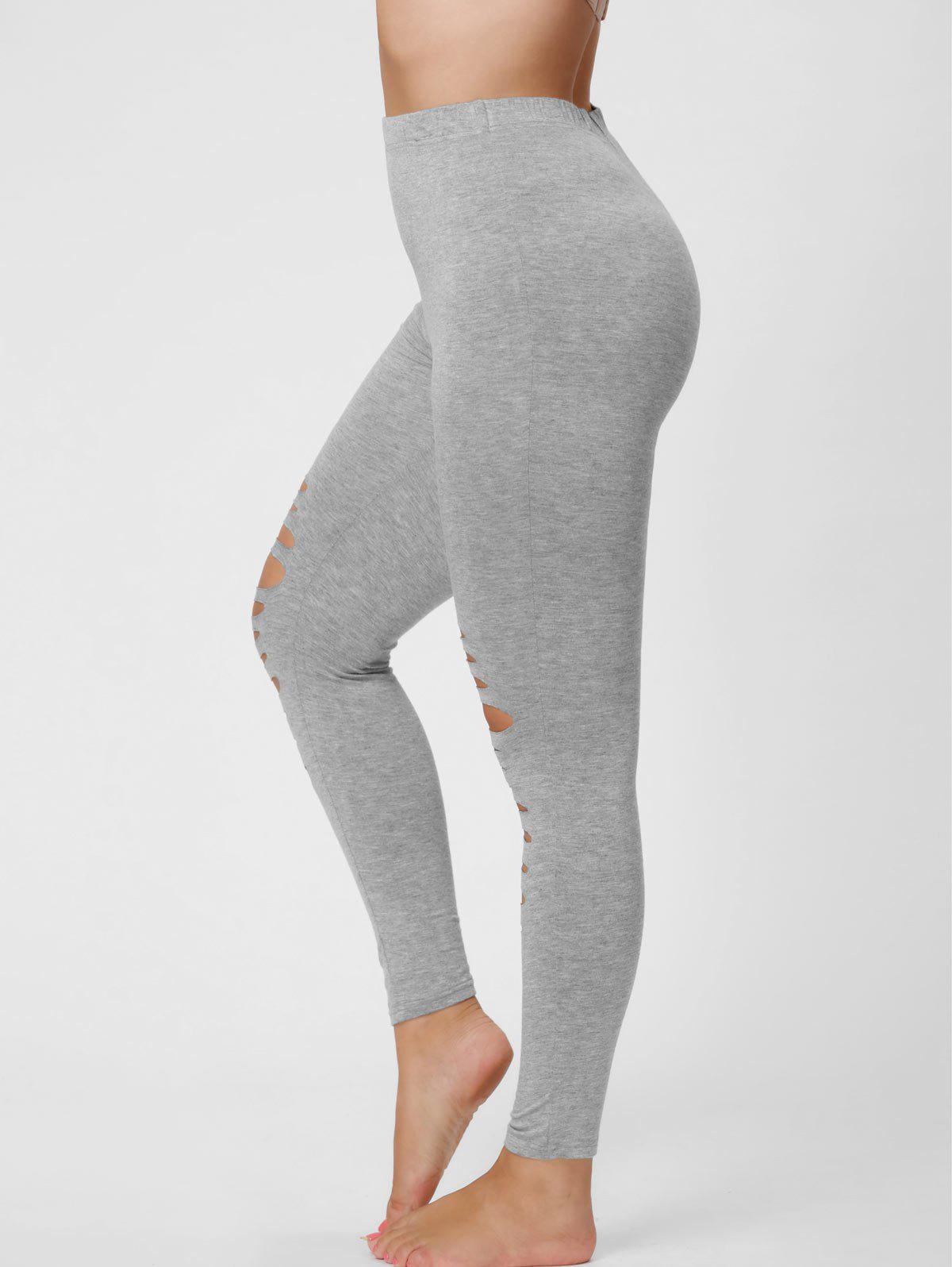 Plus Size Ripped Fitted Leggings - GRAY 4XL