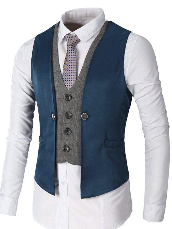 Two Tone Single Breasted Faux Twinset Waistcoat - DEEP BLUE M
