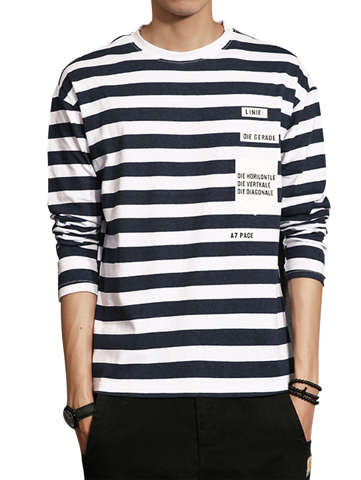 Graphic Print Stripe Long Sleeve T-shirt