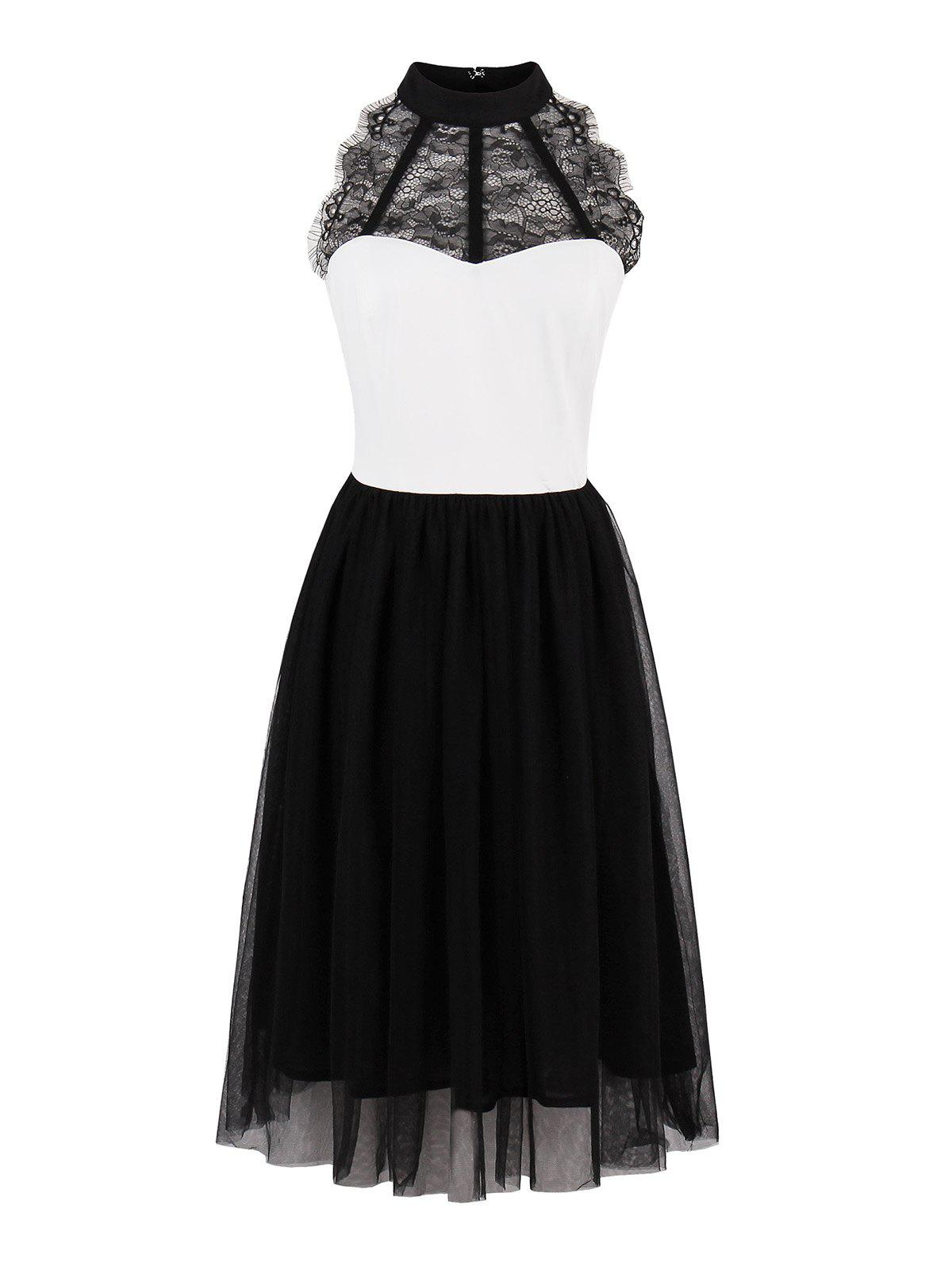 Lace Panel Color Block Pin Up Dress - Blanc Noir M