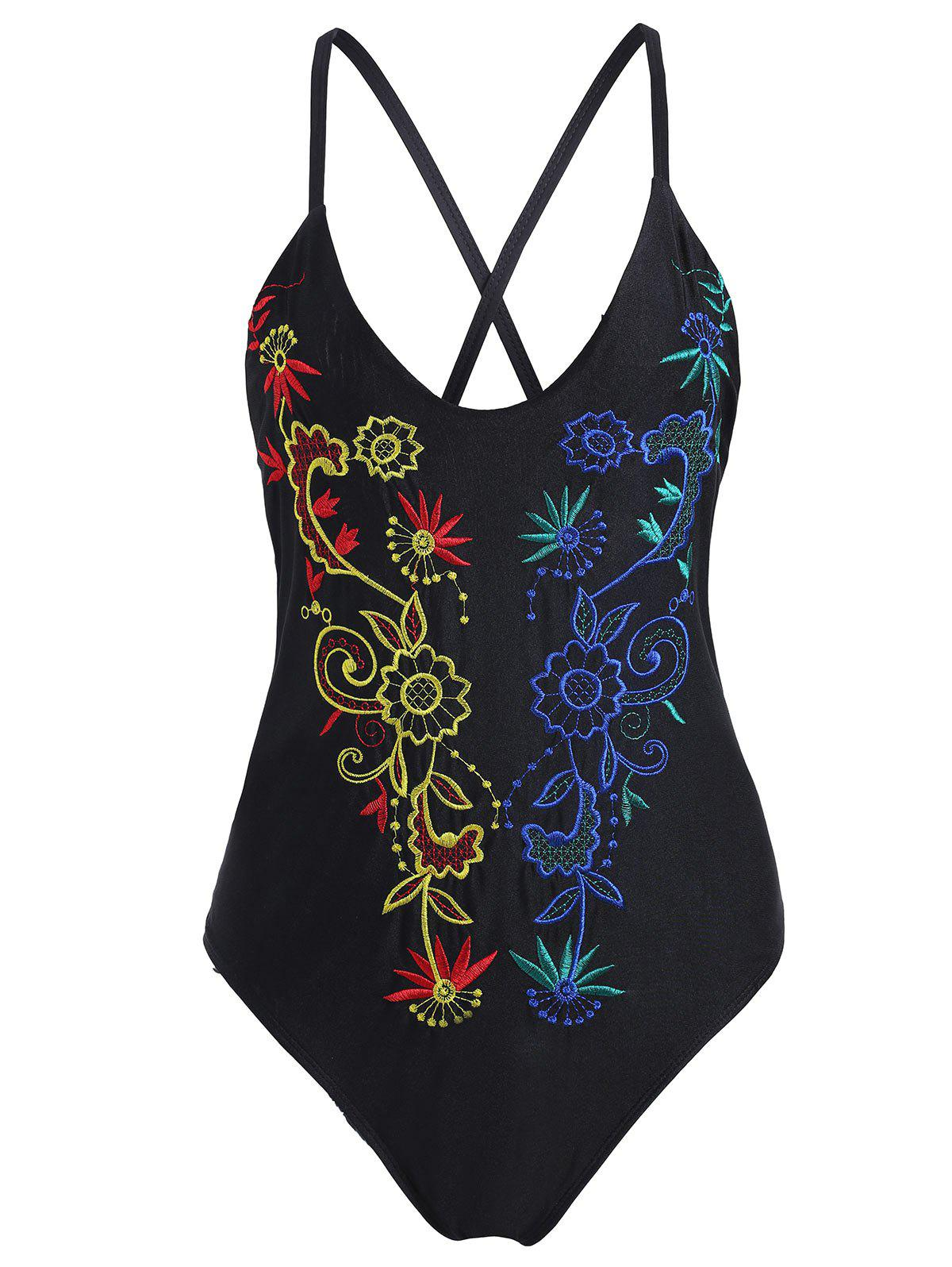 Embroidered Plus Size Crossback Swimsuit - BLACK 4XL