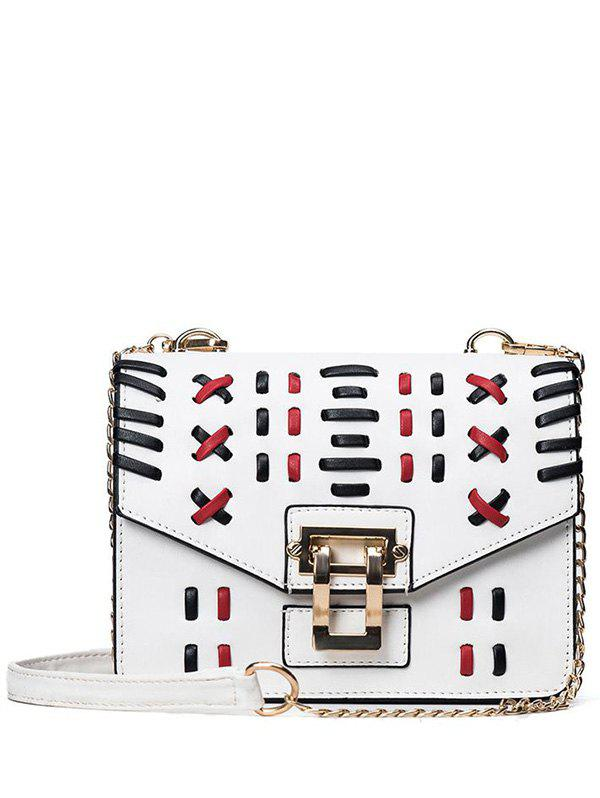 Faux Leather Weave Crossbody Bag - WHITE
