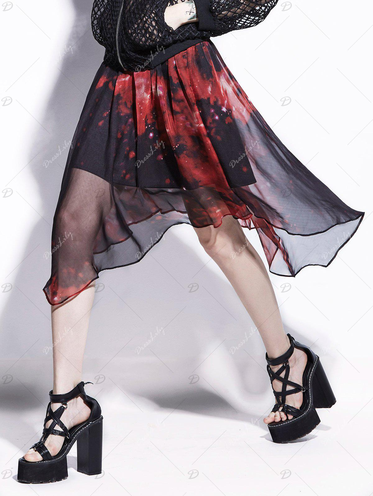 Chiffon Starry Sky Print Handkerchief Skirt - RED XL