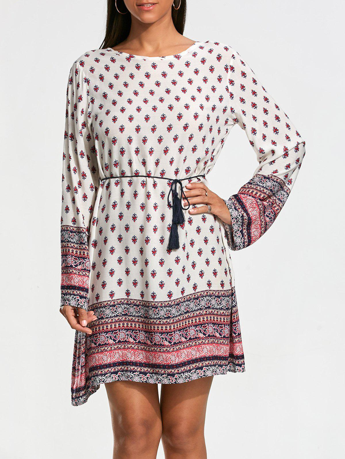 Long Sleeve Bohemia Print Tunic Dress - WHITE M