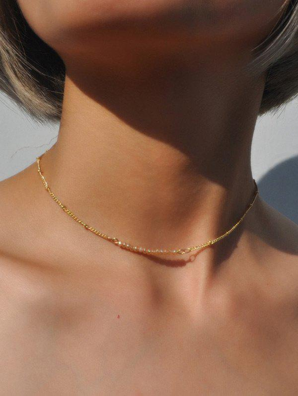 Collarbone Beaded Chain Necklace - CHAMPAGNE