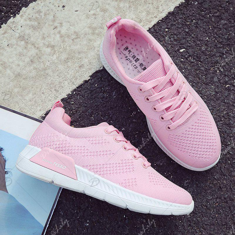 Breathable Hollow Out Mesh Sneakers - PINK 40