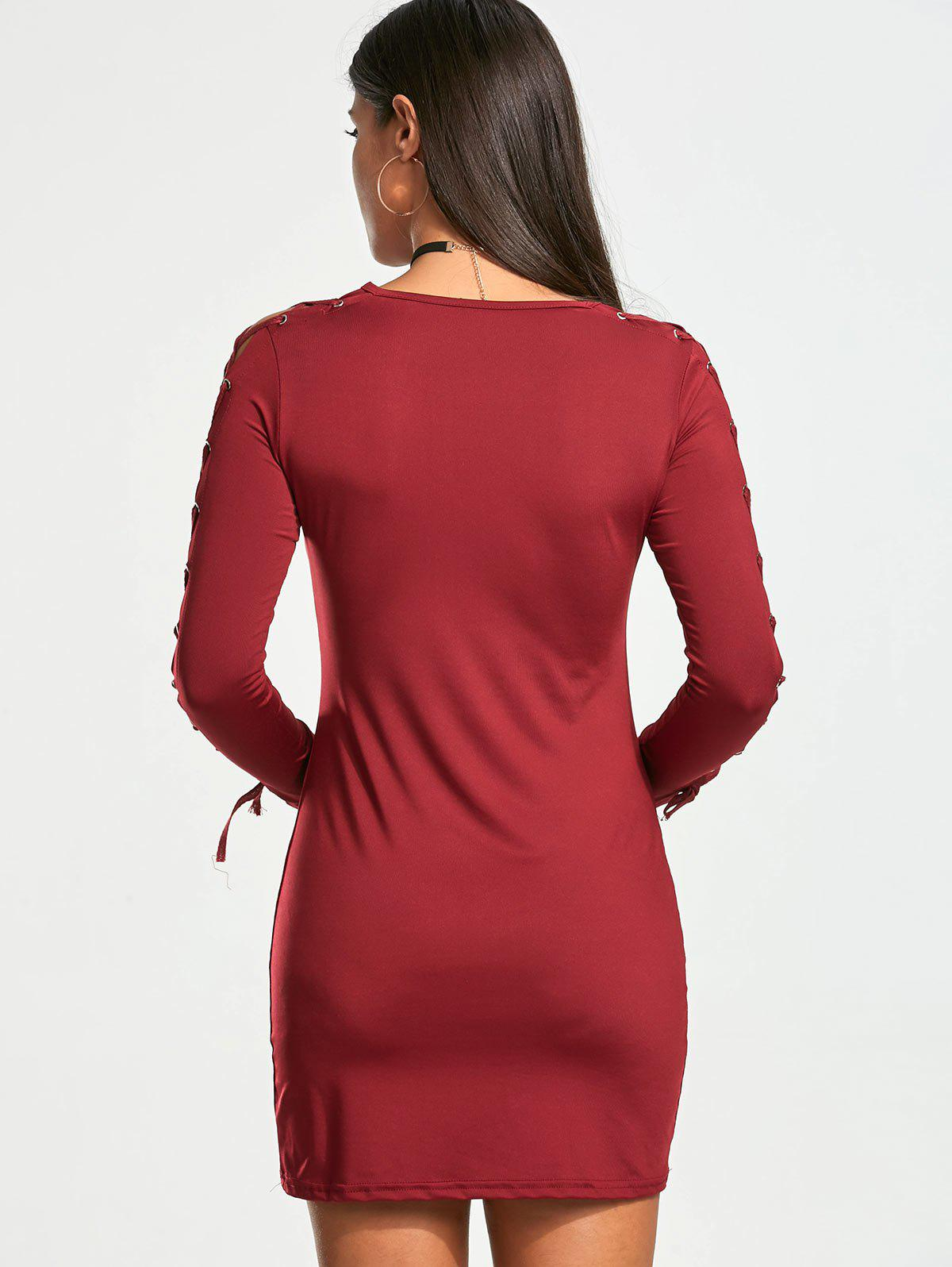 Lace Up Long Sleeve Bodycon Mini Dress - WINE RED XL