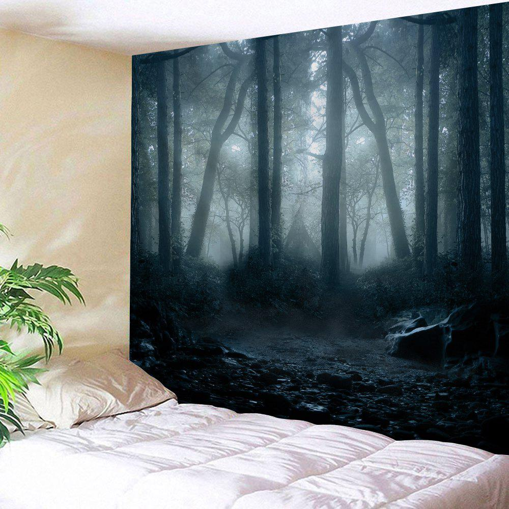 Misty Forest Print Wall Hanging Tapestry christmas moon santa sleigh print waterproof fabric shower curtain