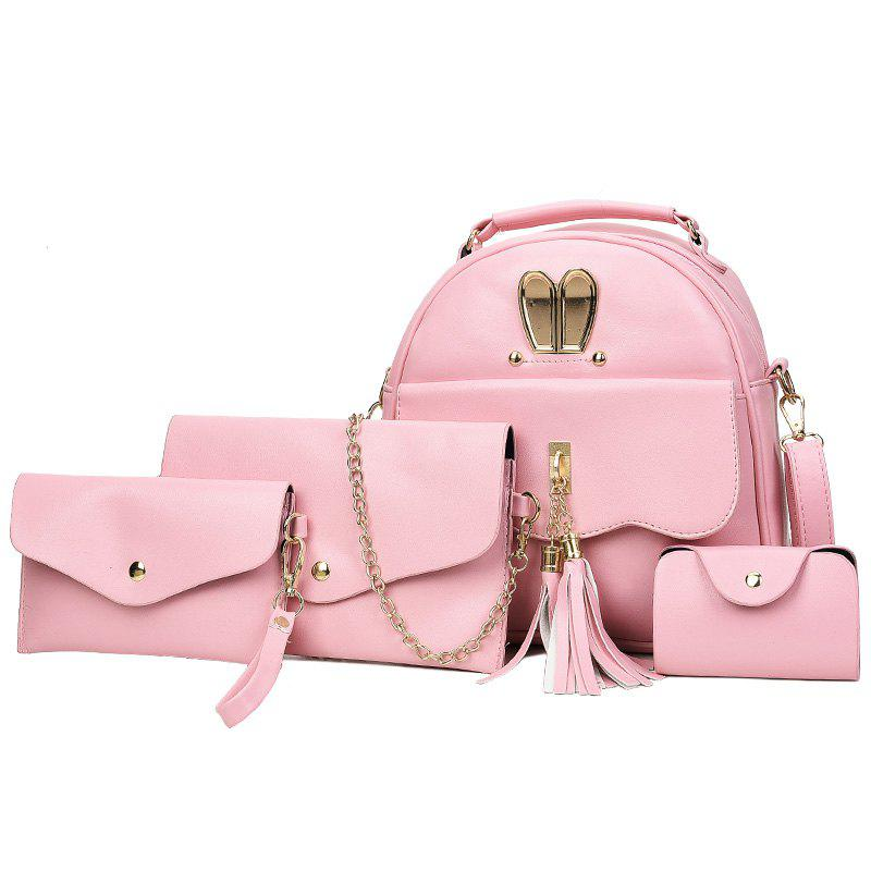 4 Pcs Tassels Faux Leather Backpack Set - PINK