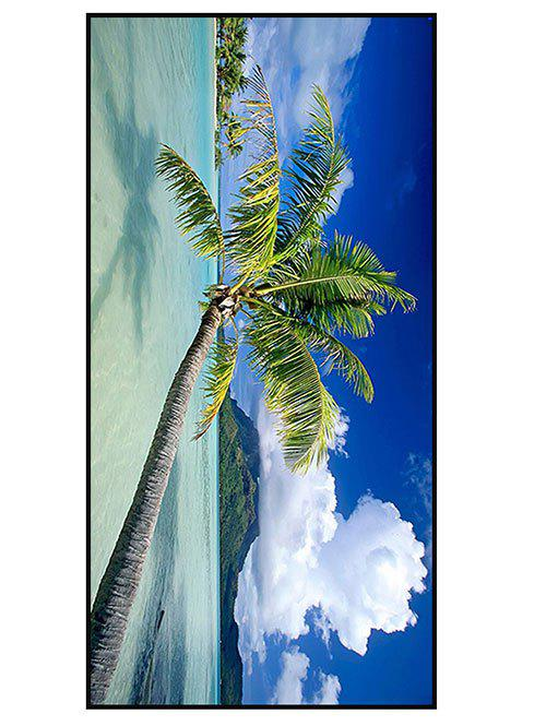 Coconut Palm Print Polyester Soft Bath Towel - BLUE W15.5 INCH * L67 INCH