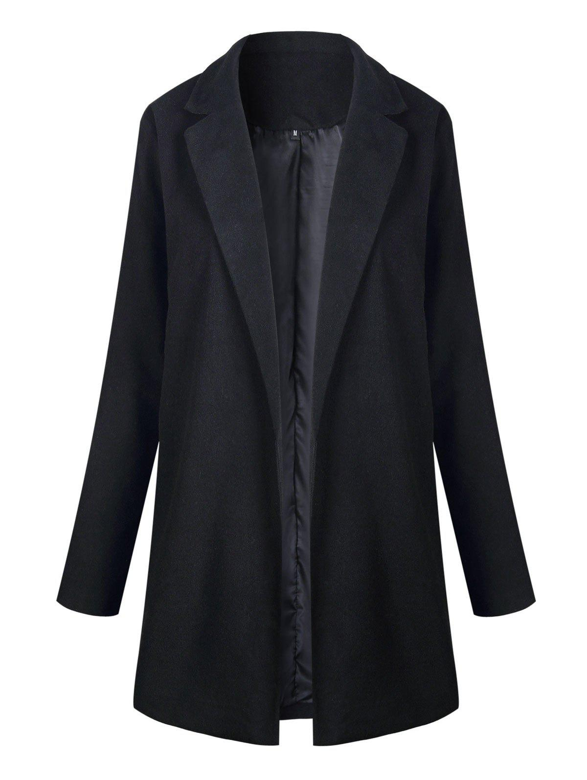 Slim Fit Long Lapel Blazer - BLACK S