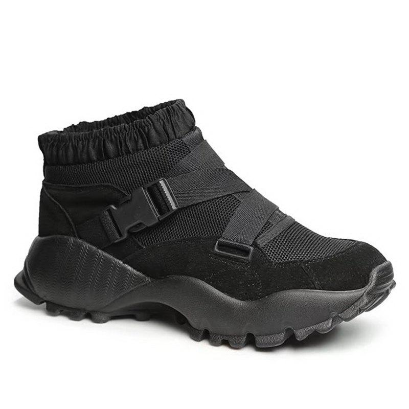 Buckle Straps Mesh Color Block Sneakers - BLACK 37