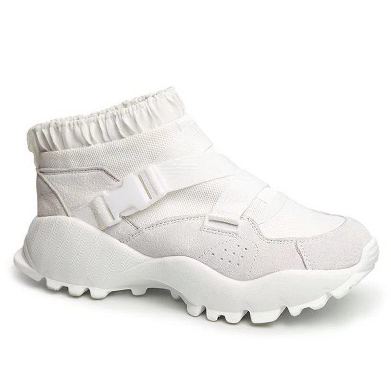 Buckle Straps Mesh Color Block Sneakers - WHITE 38