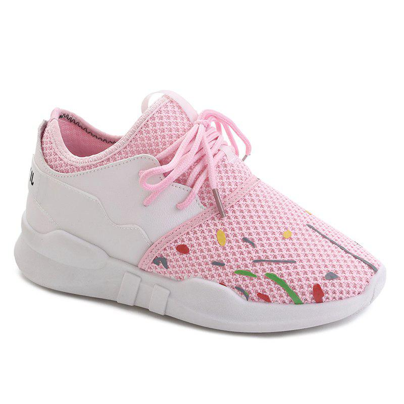 Low-top Graffitti Mesh Sneakers - LIGHT PINK 40