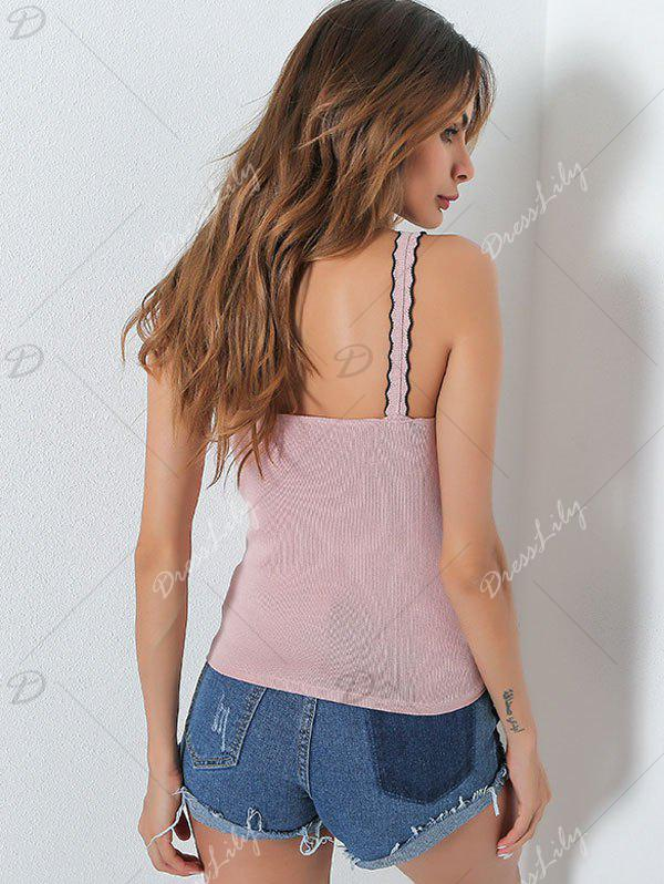 Embroidery Patch Ruffle Slip Top - PINK ONE SIZE