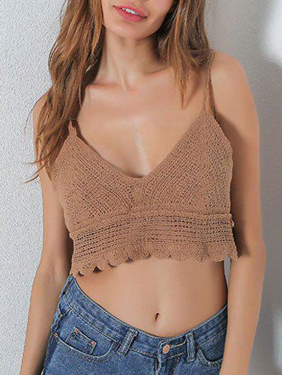 Hollow Out V Neck Crop Cami Top - KHAKI ONE SIZE