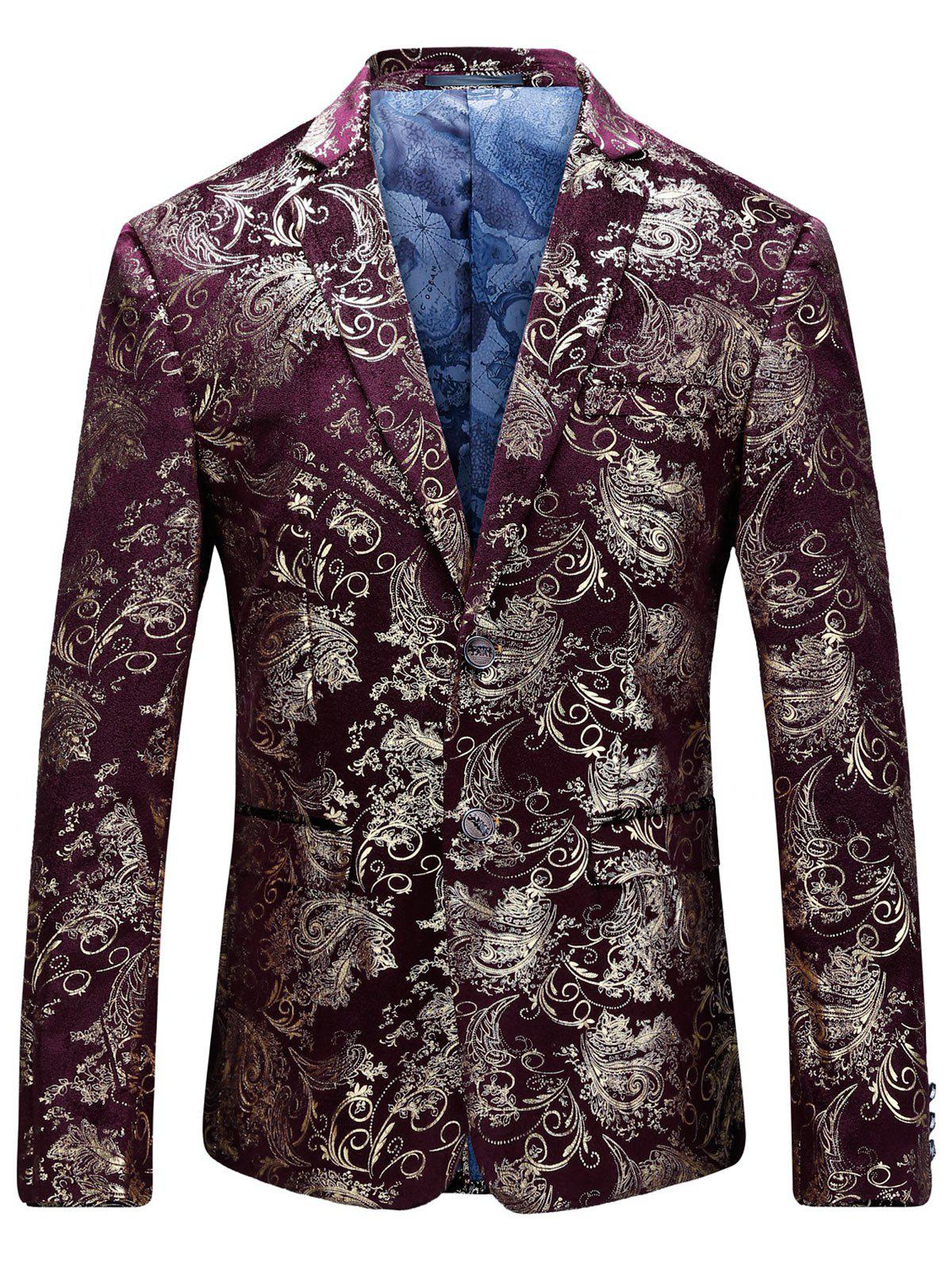 Floral Gilding Flap Pocket Blazer - WINE RED 50
