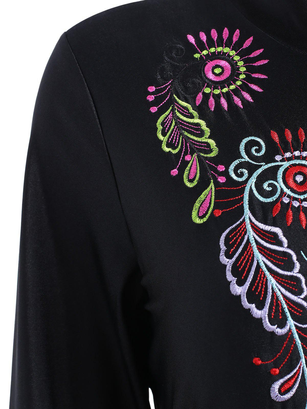 Plus Size Embroidered Long Sleeve Swimsuit - BLACK 3XL