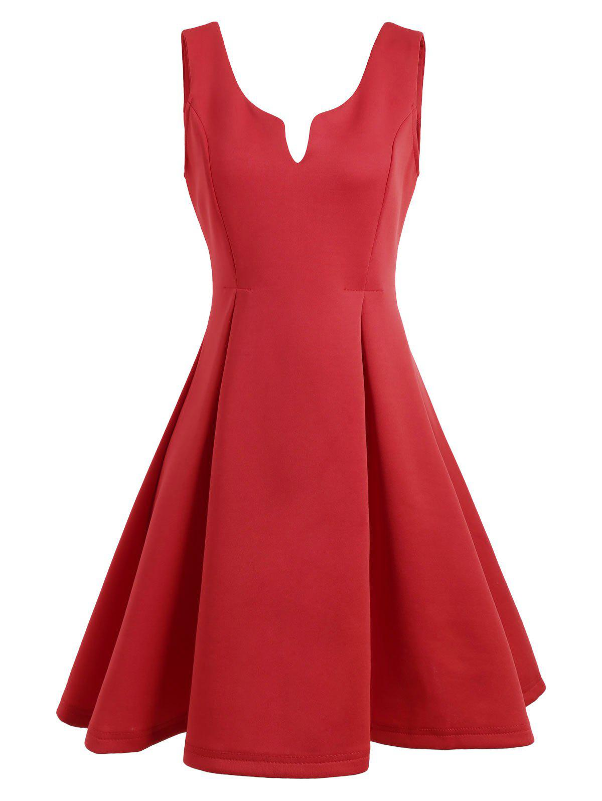 Open Back Sleeveless A Line Dress - RED L