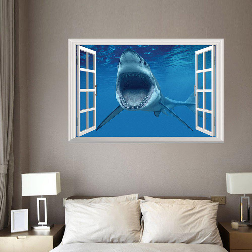 Incroyable Window Shark 3D Wall Art Sticker For Bedrooms   BLUE 48.5*72CM