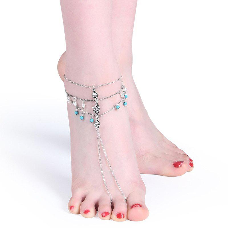 Faux Turquoise Pearl Rhinestone Slave Anklet - SILVER