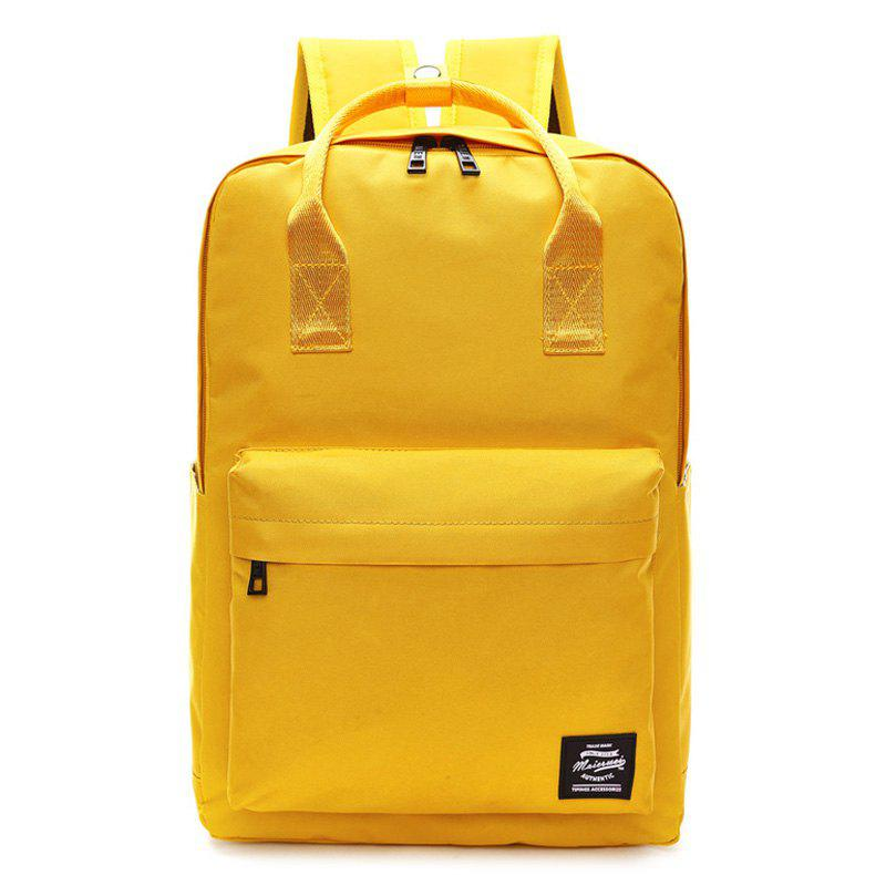 Top Handle Double Pocket Backpack - YELLOW