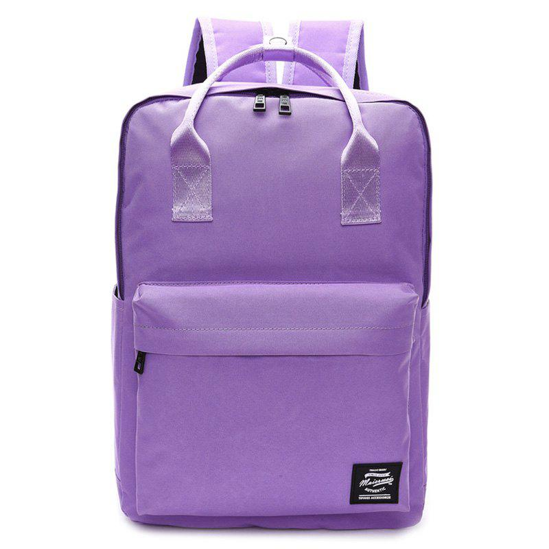 Top Handle Double Pocket Backpack - PURPLE