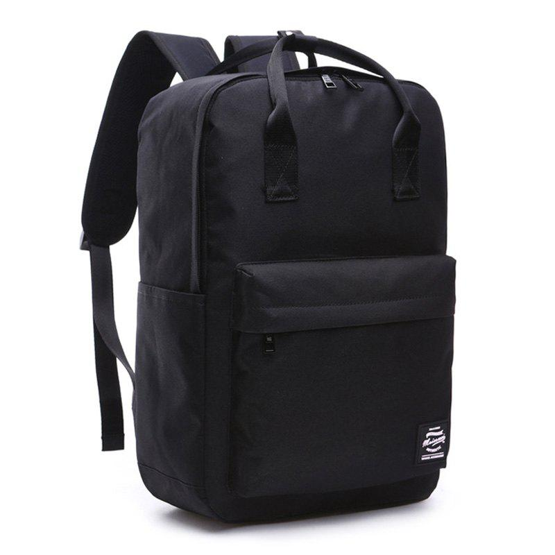 Top Handle Double Pocket Backpack - BLACK