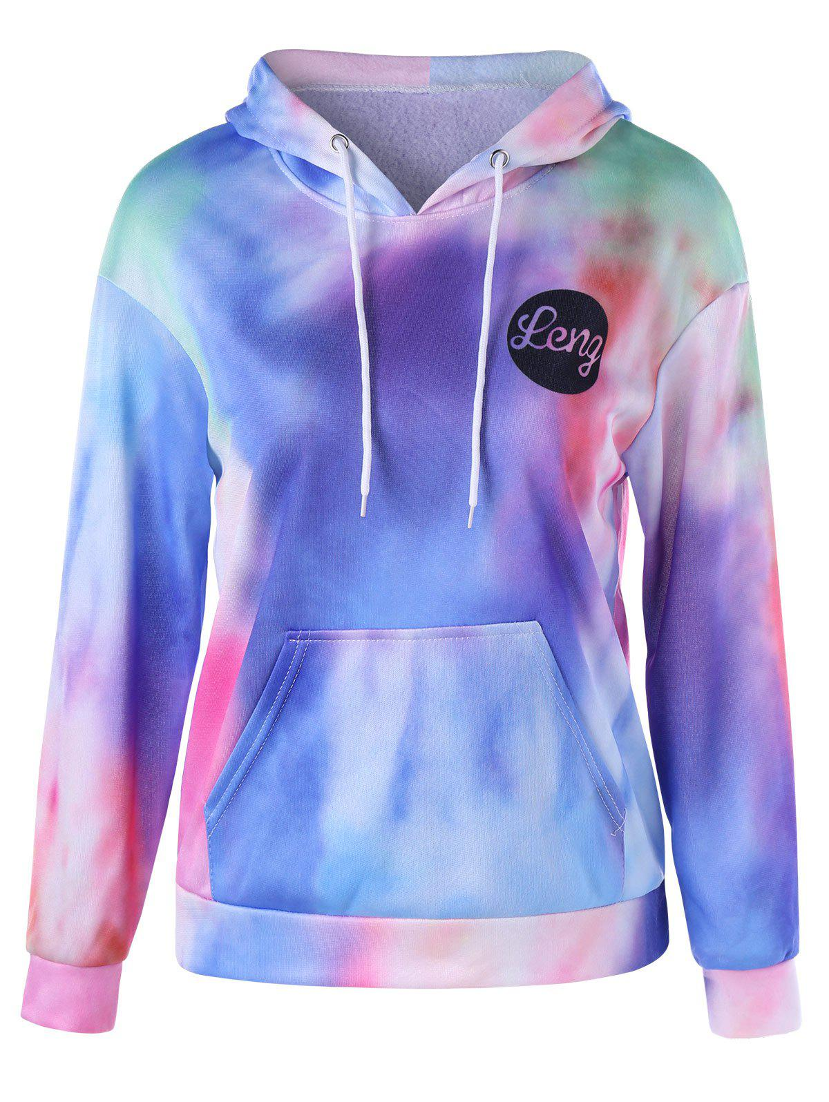 Tie Dye Kangaroo Pocket Graphic Hoodie tie dye trim kangaroo pocket dress