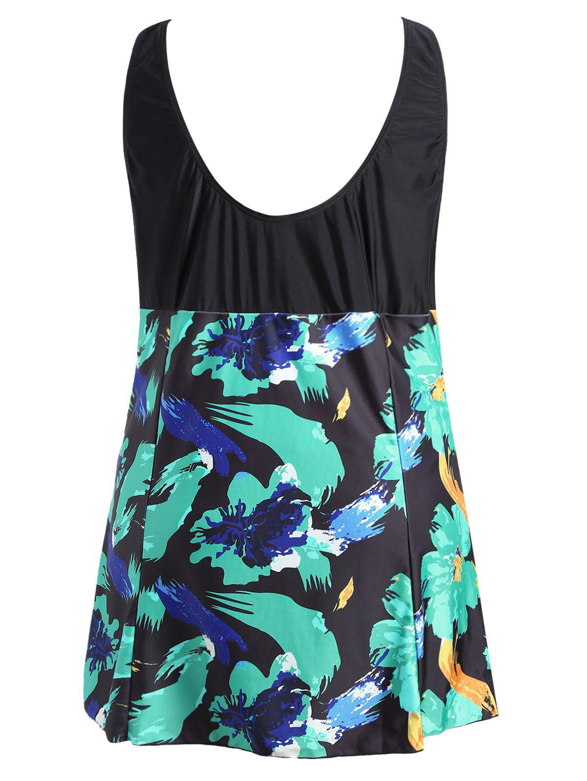 Bow Tied Plus Size Skirted Swimsuit - COLORMIX 3XL