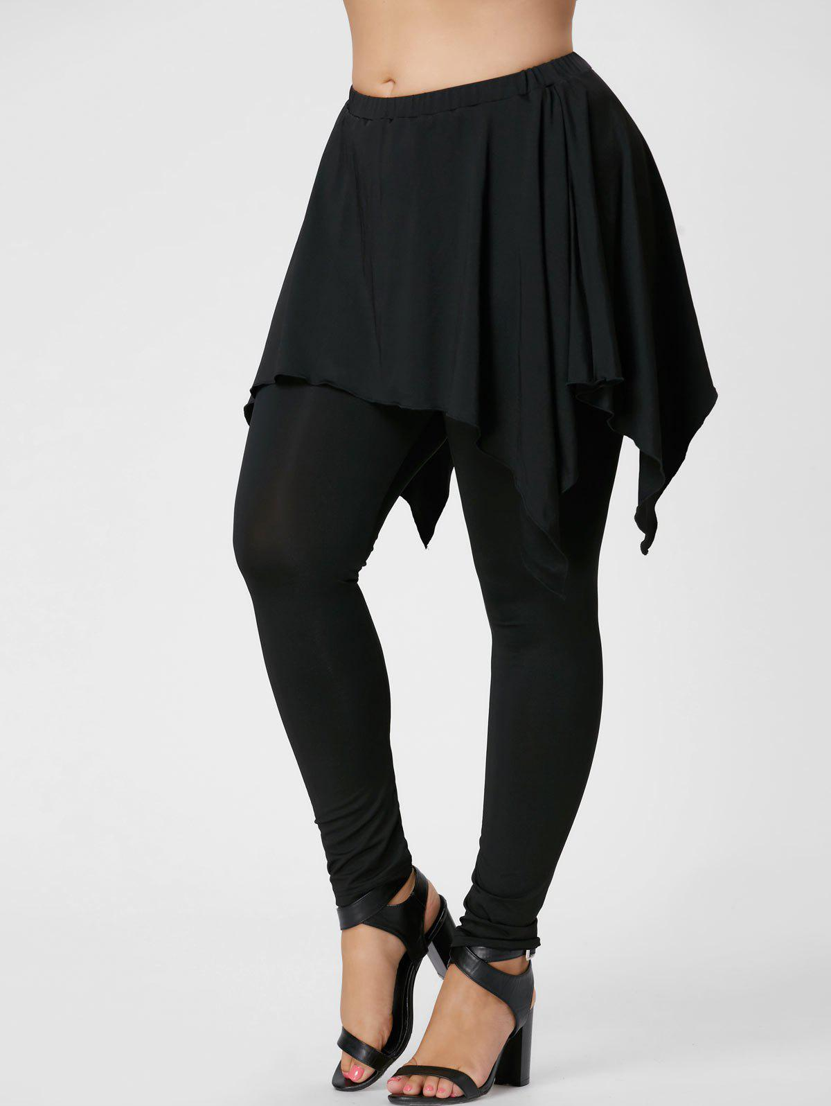 Plus Size Handerchief Skirted Pants - BLACK XL