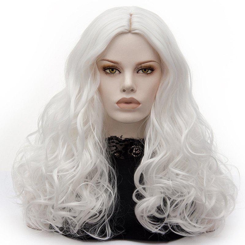 Long Middle Part Fluffy Layered Wavy Cosplay Lolita Wig - PURE WHITE