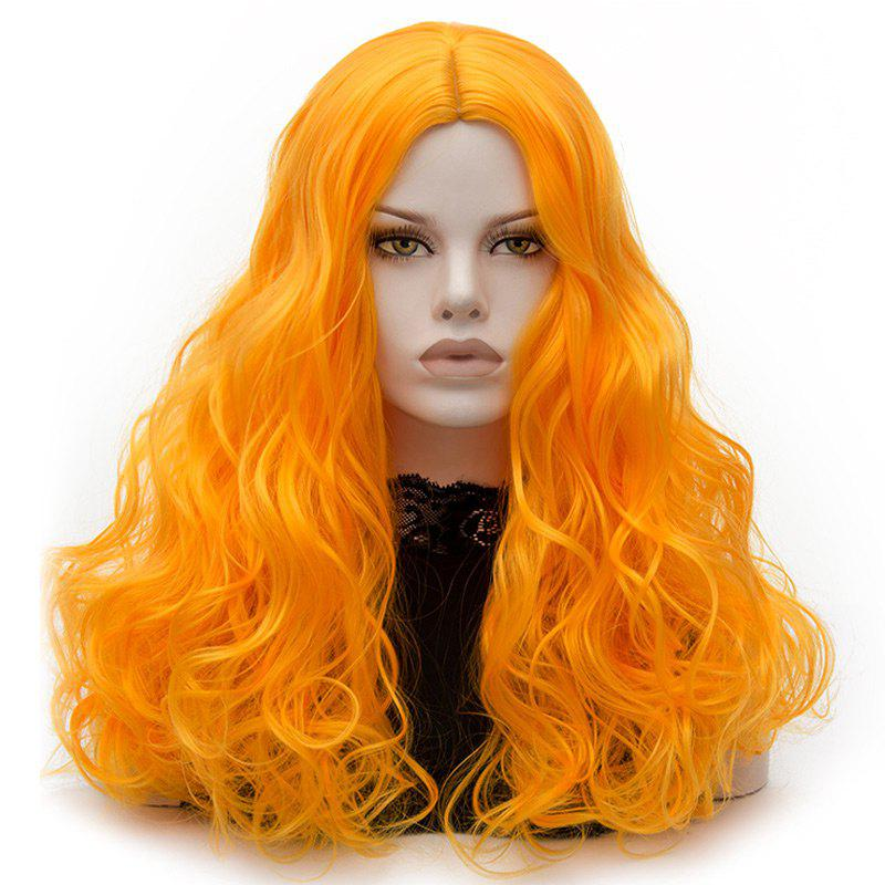 Long Middle Part Fluffy Layered Wavy Cosplay Lolita Wig - YELLOW
